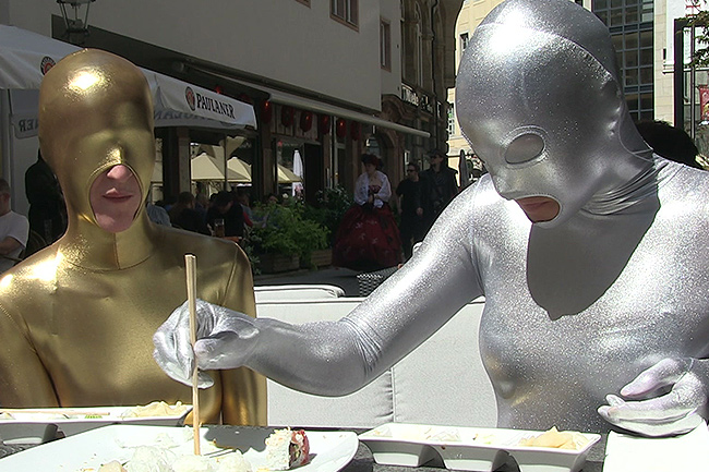 Zentai snack in public