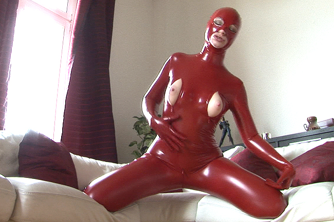in the Red Lackcatsuit